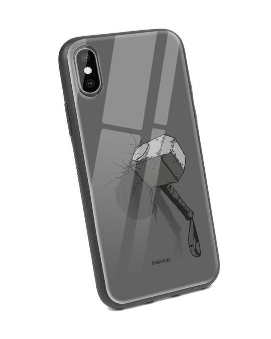 Shop Thor Hammer iPhone XS Glass Mobile Cover (AVL)-Back
