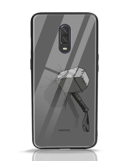 Shop Thor Hammer OnePlus 6T Glass Mobile Cover (AVL)-Front