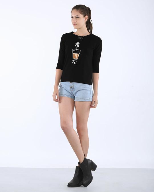 Shop Ti Chai La Round Neck 3/4th Sleeve T-Shirt