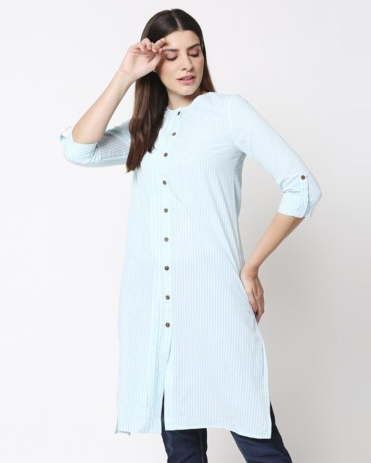 Shop Women's Stripe Light Blue Long Kurta-Front