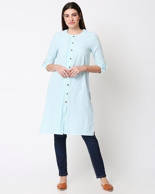 Shop Women's Stripe Light Blue Long Kurta-Back