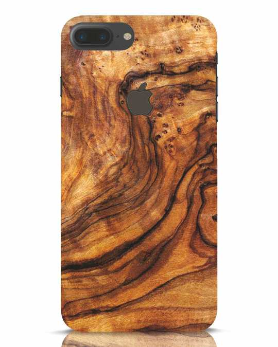 Shop Timber Texture iPhone 7 Plus Logo Cut Mobile Cover-Front