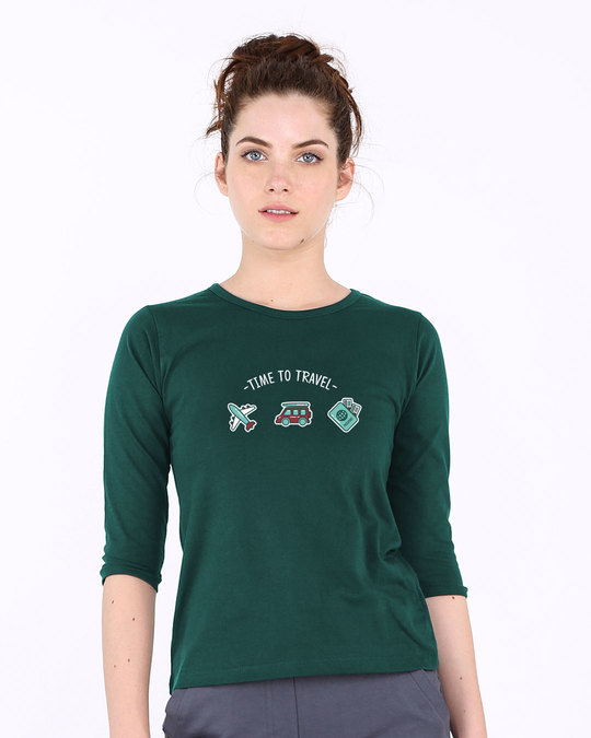 Shop Time To Travel Round Neck 3/4th Sleeve T-Shirt-Front