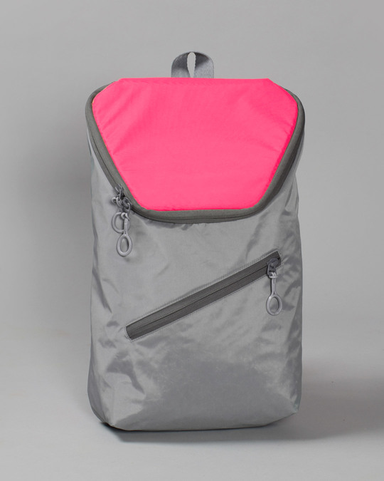 Shop Tin Grey - Highlighter Pink Mini Backpack-Front