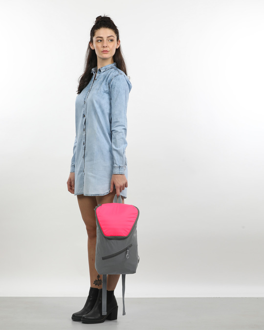 Shop Tin Grey - Highlighter Pink Mini Backpack