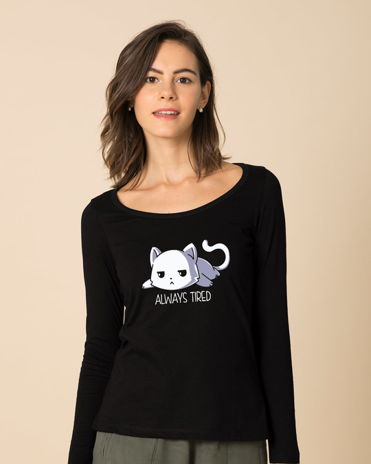 Shop Tired Always Scoop Neck Full Sleeve T-Shirt-Front