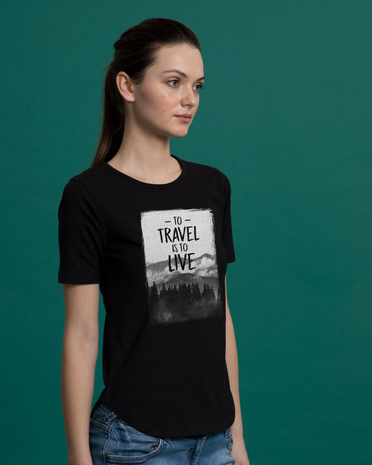 Shop To Travel Is To Live Basic Round Hem T-Shirt-Back