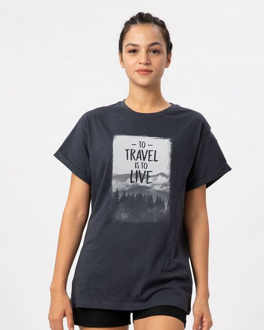 Shop To Travel Is To Live Boyfriend T-Shirt-Front