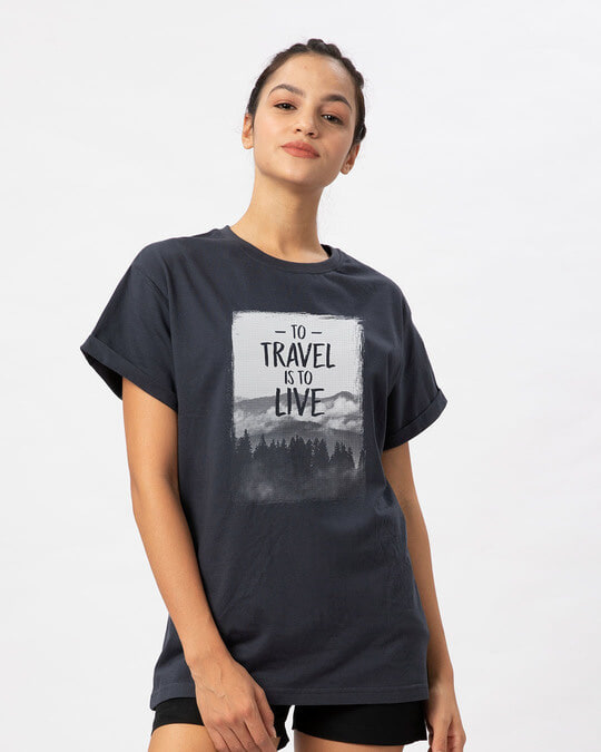 Shop To Travel Is To Live Boyfriend T-Shirt-Back