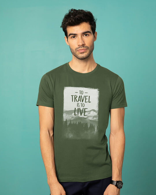 Shop To Travel Is To Live Half Sleeve T-Shirt-Back