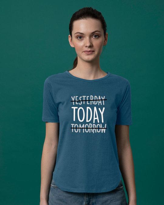 Shop Today Yesterday Tomorrow Basic Round Hem T-Shirt-Front