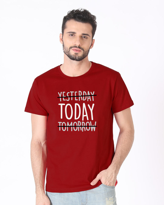 Shop Today Yesterday Tomorrow Half Sleeve T-Shirt-Back
