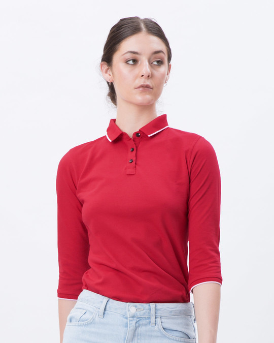 Shop Tokyo Red-White 3/4th Sleeve Polo T-Shirt-Front