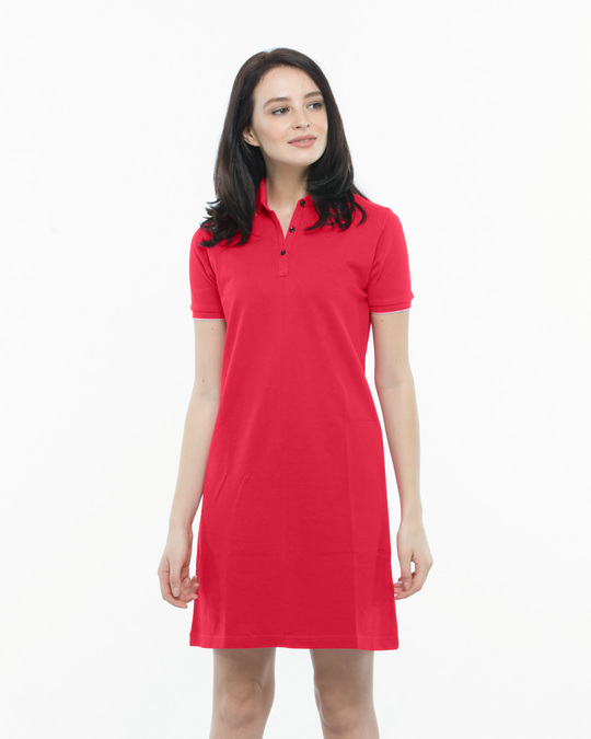 735992e2cbe9 Buy Tokyo Red-White Polo Dress Women's Pique Polo Dress With Tipping ...
