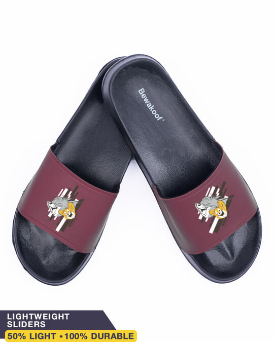 Shop Tom & Jerry Yellow Men's Printed Sliders (TJL)-Front