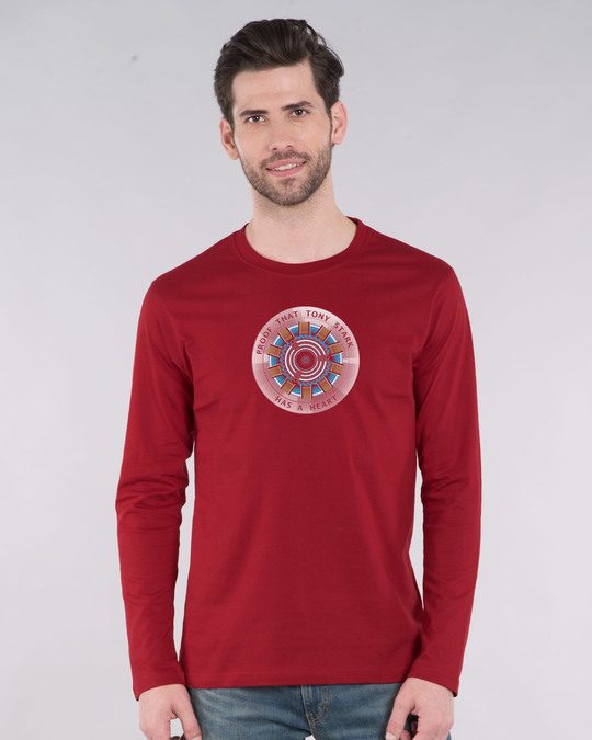 Shop Tony Stark Heart Full Sleeve T-Shirt (AVL)-Front