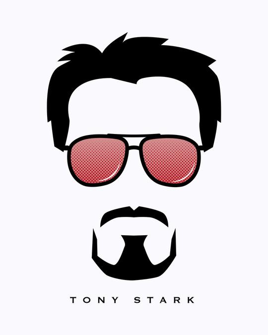 Shop Tony Stark Silhouette Half Sleeve T-shirt (AVL) White-Full