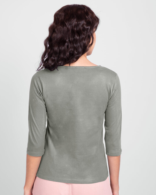 Shop Too Close Round Neck 3/4 Sleeve T-Shirts Meteor Grey  -Back
