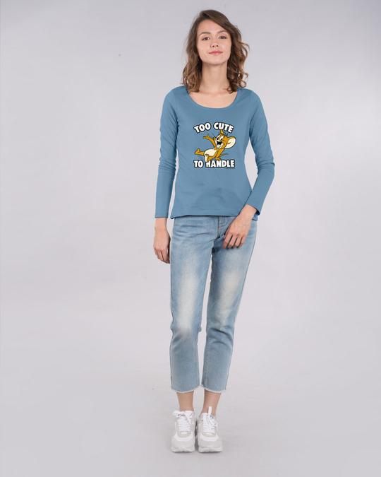 Shop Too Cute Jerry Scoop Neck Full Sleeve T-Shirt (TJL) Island Blue-Design