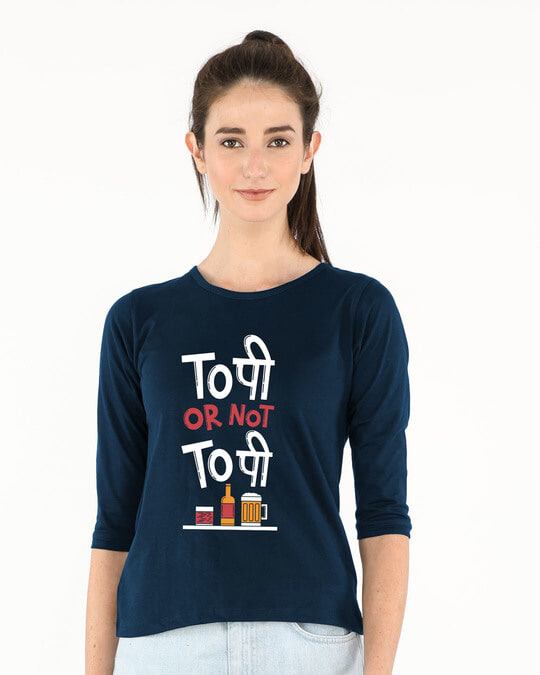 Shop Too Pee Round Neck 3/4th Sleeve T-Shirt-Front