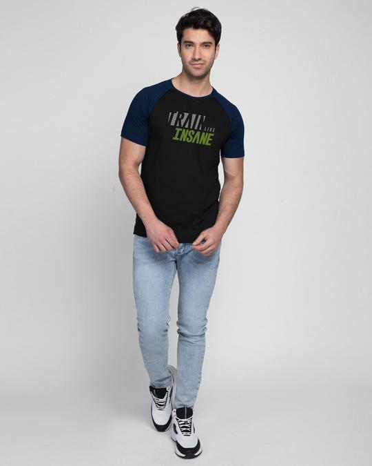 Shop Train Like Insane Half Sleeve Raglan T-Shirt Navy Blue-Black-Design