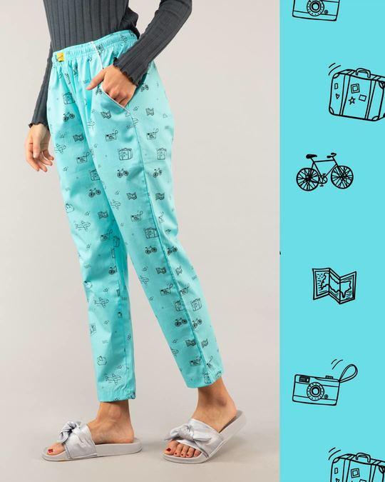 Shop Travel Doodle All Over Printed Pyjama-Front
