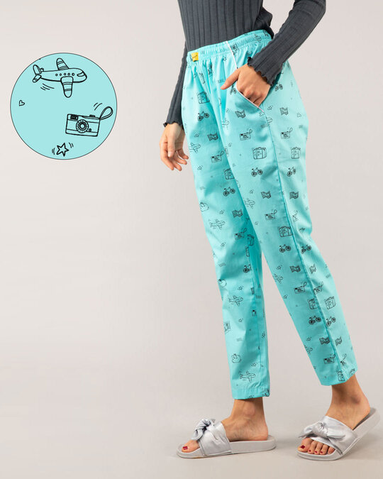 Shop Travel Doodle All Over Printed Pyjama-Front