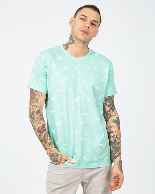 Shop Travel Icon Men's AOP Half Sleeves T-Shirts-Back