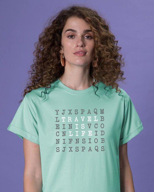 Shop Travel Is Life Puzzle Boyfriend T-Shirt-Front