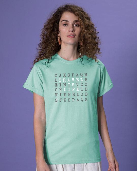 Shop Travel Is Life Puzzle Boyfriend T-Shirt-Back