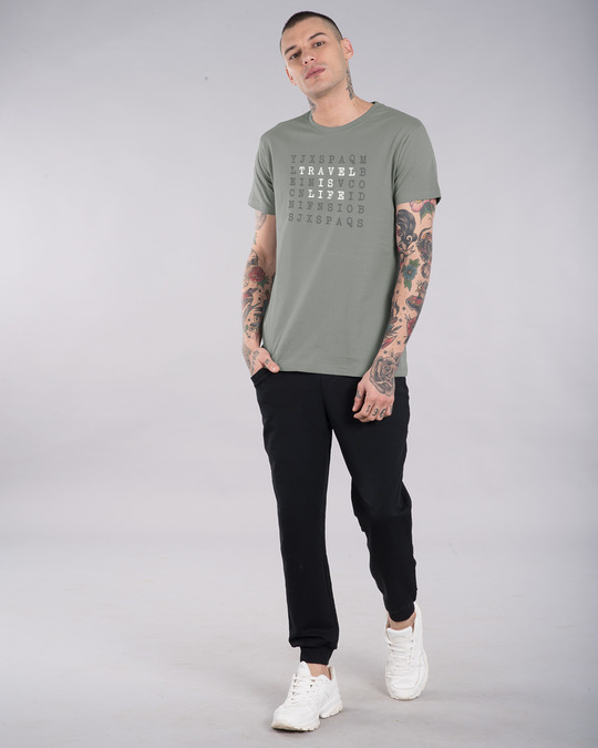Shop Travel Is Life Puzzle Half Sleeve T-Shirt-Full