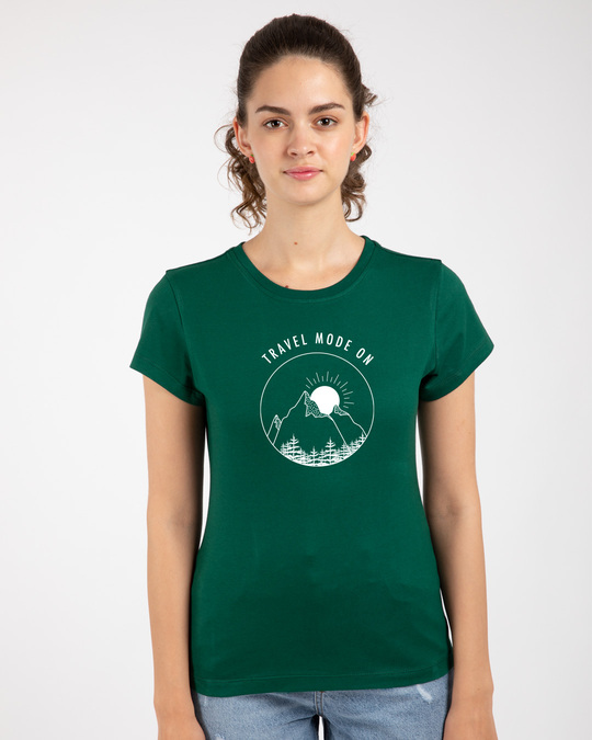 Shop Travel Mode Minimal Half Sleeve Printed T-Shirt Dark Forest Green-Front