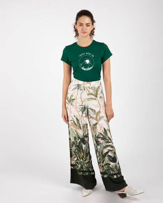 Shop Travel Mode Minimal Half Sleeve Printed T-Shirt Dark Forest Green-Full