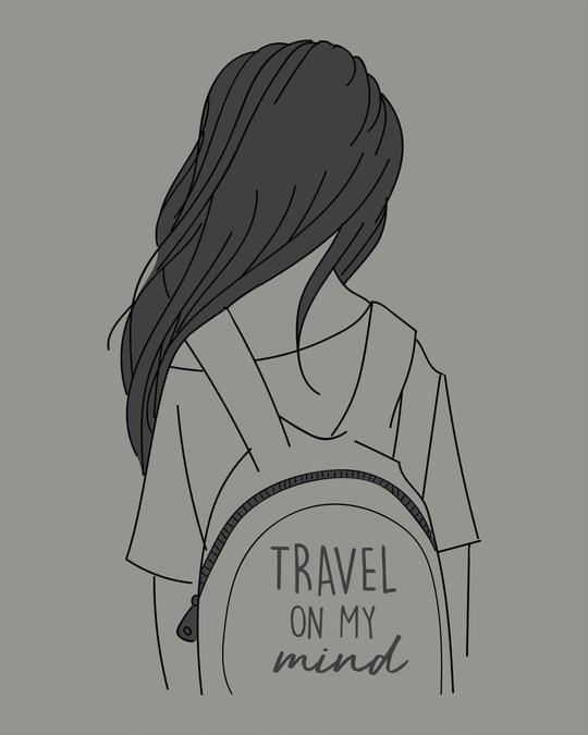 Shop Travel On My Mind Round Neck 3/4th Sleeve T-Shirt