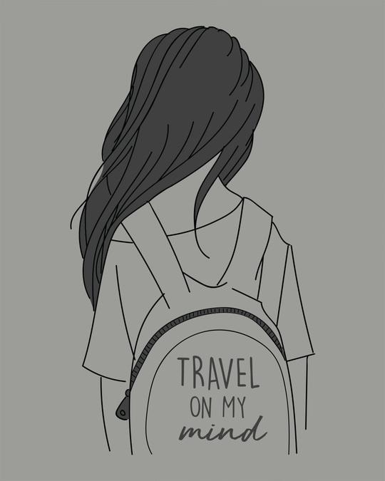 Shop Travel On My Mind Scoop Neck Full Sleeve T-Shirt-Full