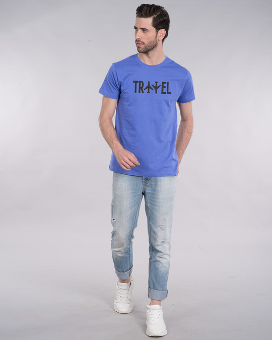 Shop Travel Plane Half Sleeve T-Shirt-Full