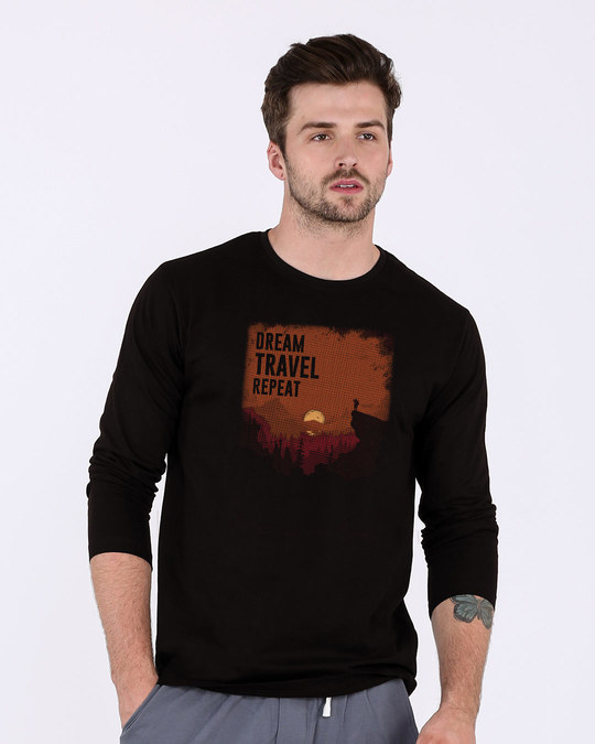 Shop Travel Repeat Full Sleeve T-Shirt-Front