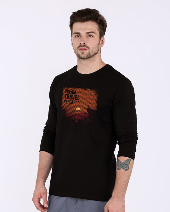 Shop Travel Repeat Full Sleeve T-Shirt-Back