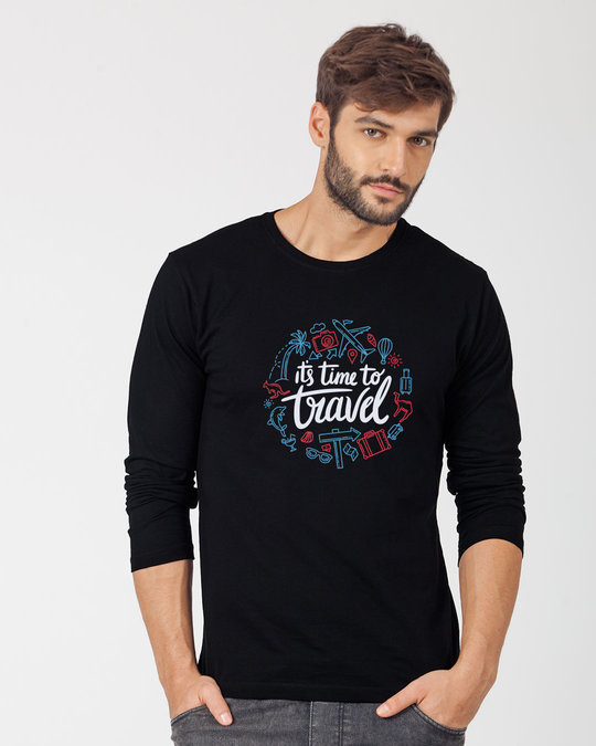 Shop Travel Time Full Sleeve T-Shirt-Front