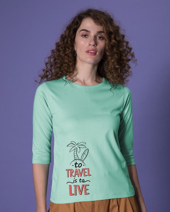 Shop Travel To Live Round Neck 3/4th Sleeve T-Shirt-Front