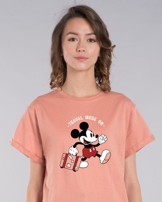 Shop Traveller Mickey Boyfriend T-Shirt (DL)-Front