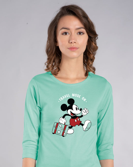Shop Traveller Mickey Round Neck 3/4th Sleeve T-Shirt (DL)-Front
