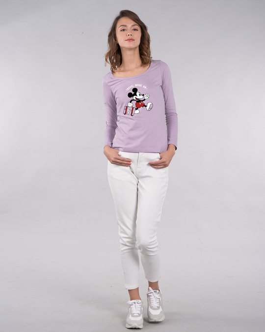 Shop Traveller Mickey Scoop Neck Full Sleeve T-Shirt (DL)-Design