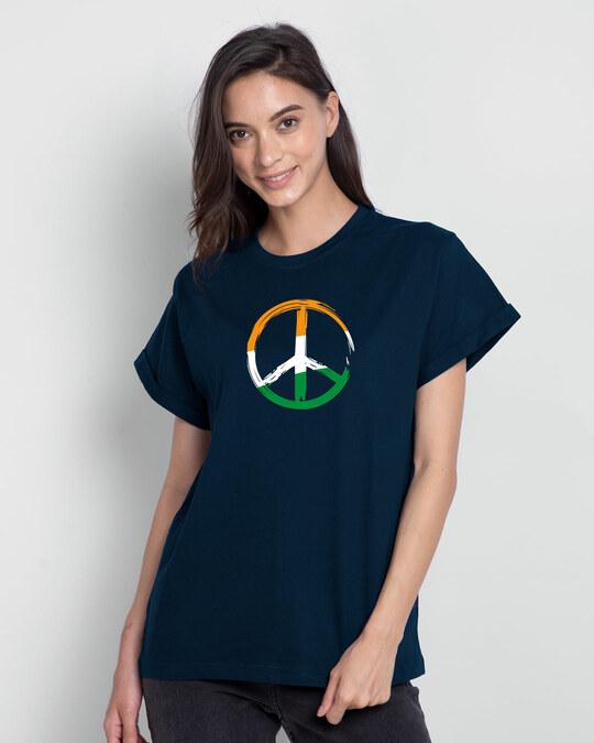 Shop Tri Peace Boyfriend T-Shirt Navy Blue-Front