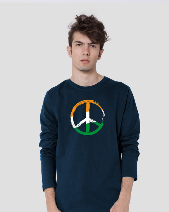 Shop Tri Peace Full Sleeve T-Shirt Navy Blue-Front