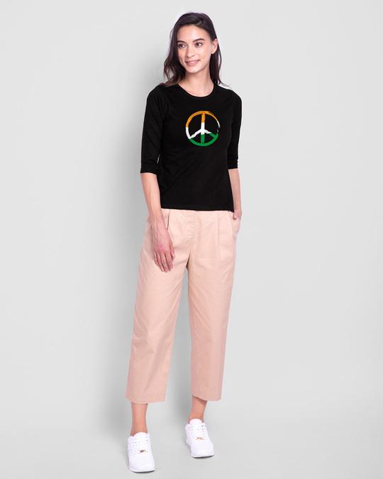 Shop Tri Peace Round Neck 3/4th Sleeve T-Shirt Black-Full