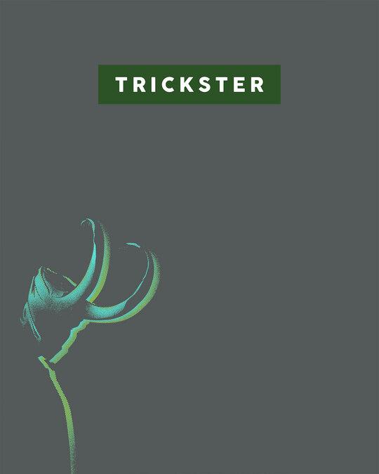 Shop Trickster Loki Half Sleeve T-Shirt Nimbus Grey-Full