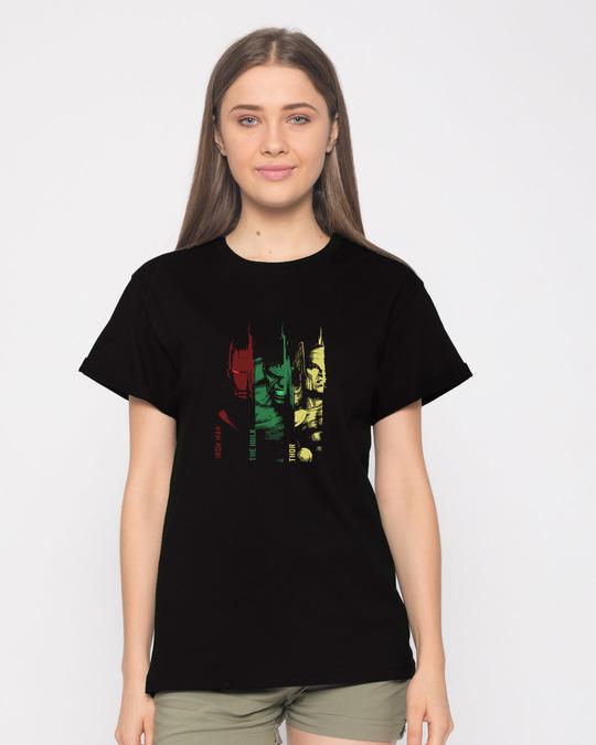 Shop Tricolor Avengers Boyfriend T-Shirt (AVL)-Front