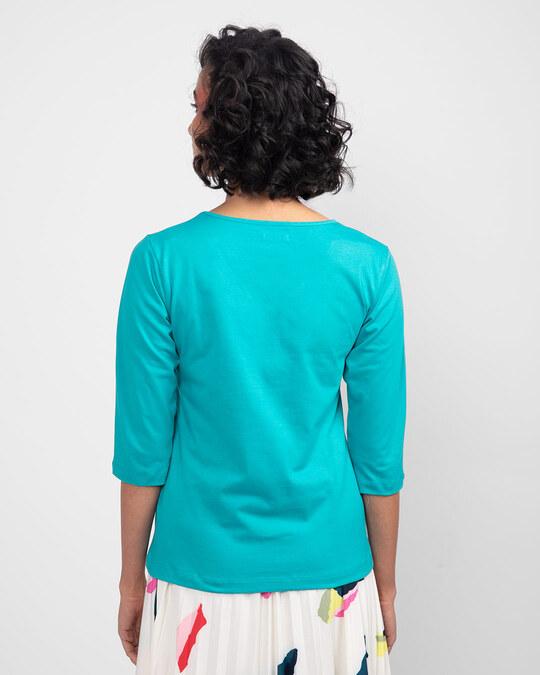 Shop Tropical Blue 3/4 th V Neck T-Shirts-Full