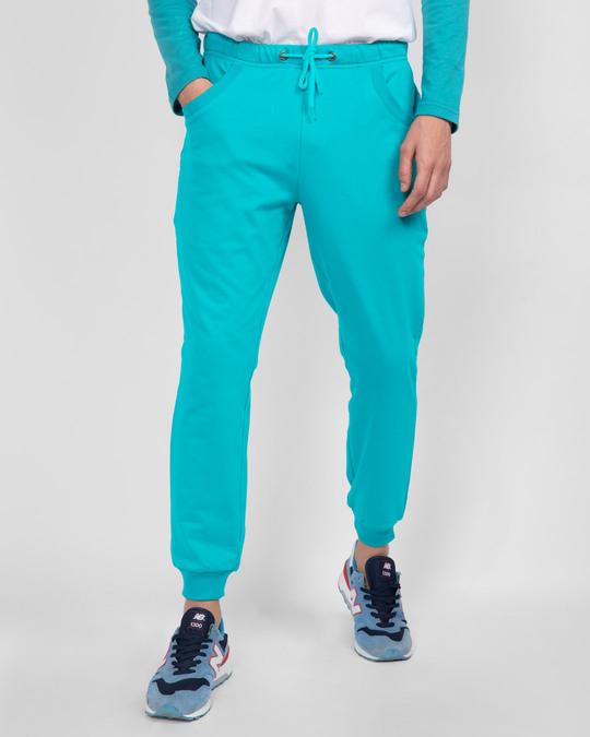 Shop Tropical Blue Casual Jogger Pants-Back